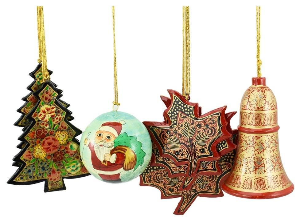 Holiday Christmas Ornaments, Hand Painted Ball, Bell, Tree and Maple Sets - KashmirDesigns