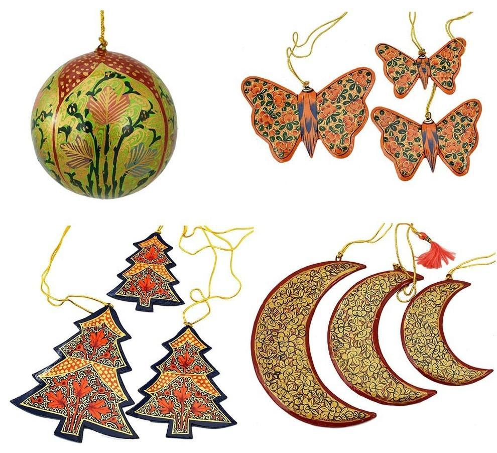 Holiday Christmas Ornaments, Hand Painted Ball, Butterfly, Tree and Moon Sets - KashmirDesigns