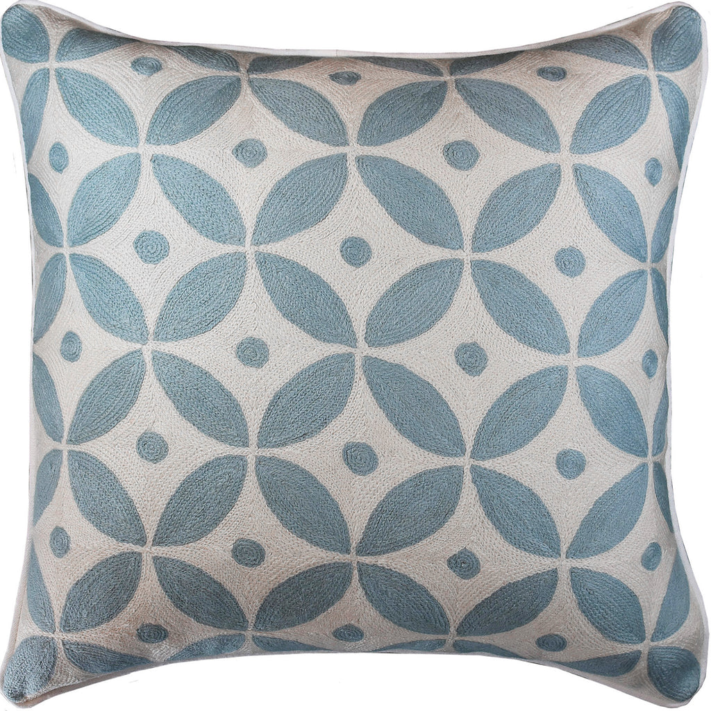 "Diamond Circles Baby Blue Decorative Pillow Cover Handembroidered Wool 20x20"" - KashmirDesigns"
