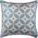 Diamond Circles Baby Blue Decorative Pillow Cover Handembroidered Wool 20x20