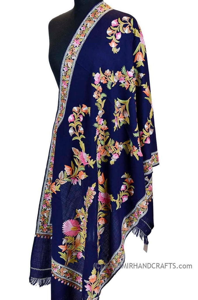 royal blue floral kashmir shawl hand embroidered wrap - Kashmir Designs