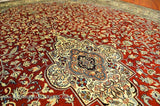 Red Kashan Medallion Carpet Silk on Silk Rug Handknotted 5ft x 7ft