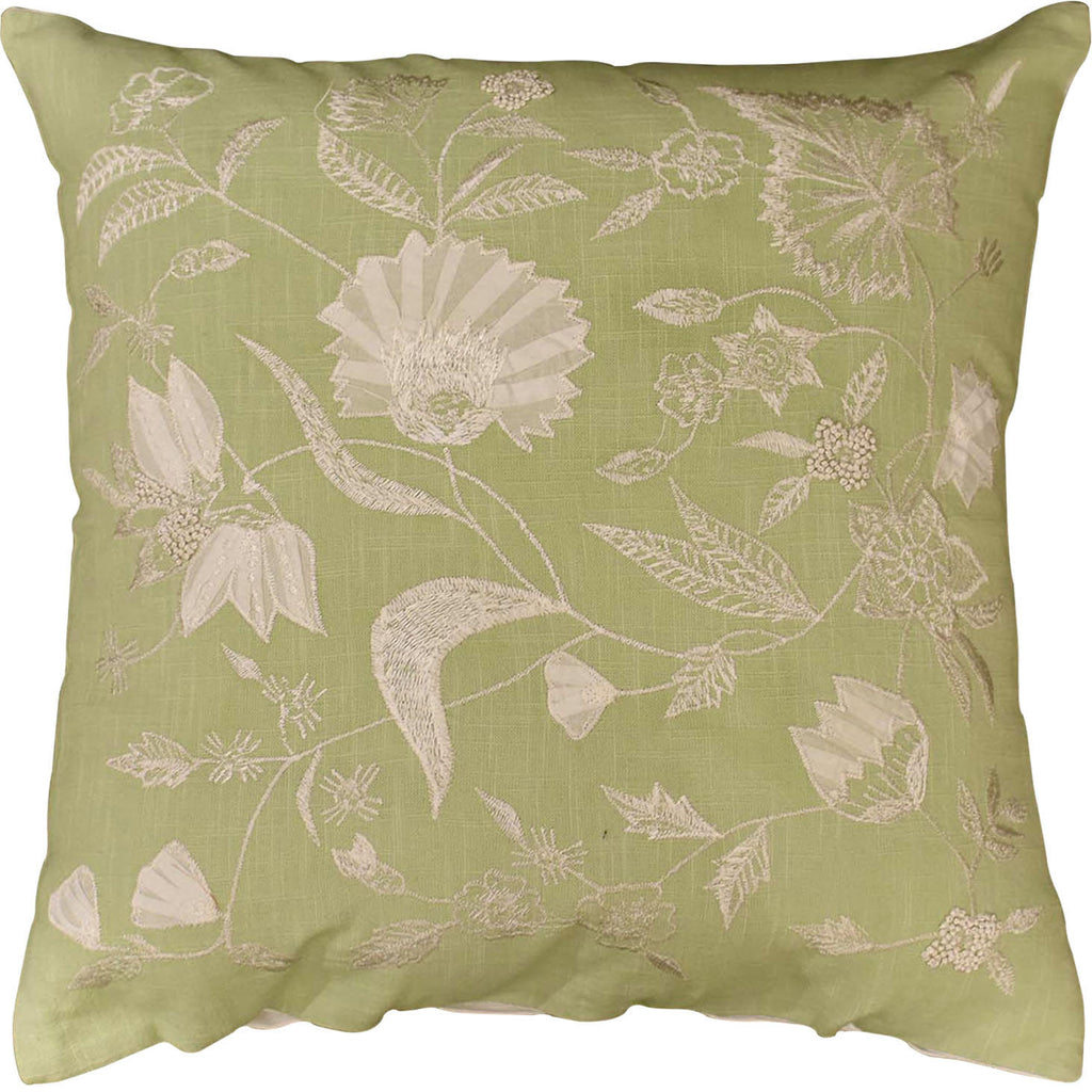 "Jacobian Green Floral Design Decorative Cotton Pillow Cover Embroidered 18""x18"" - KashmirDesigns"