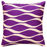 Contemporary Waves Vivid Violet I Decorative Pillow Cover Handmade Wool 18