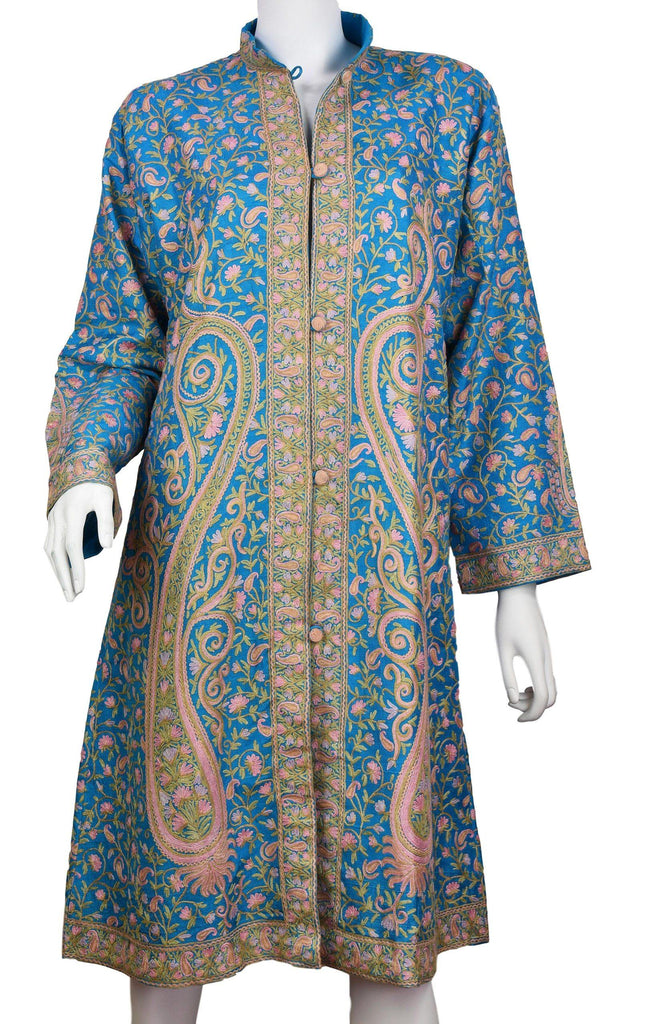 Thalia Turquoise Silk Jacket Dinner Paisley Floral Evening Dress Coat Hand Embroidered Kashmir