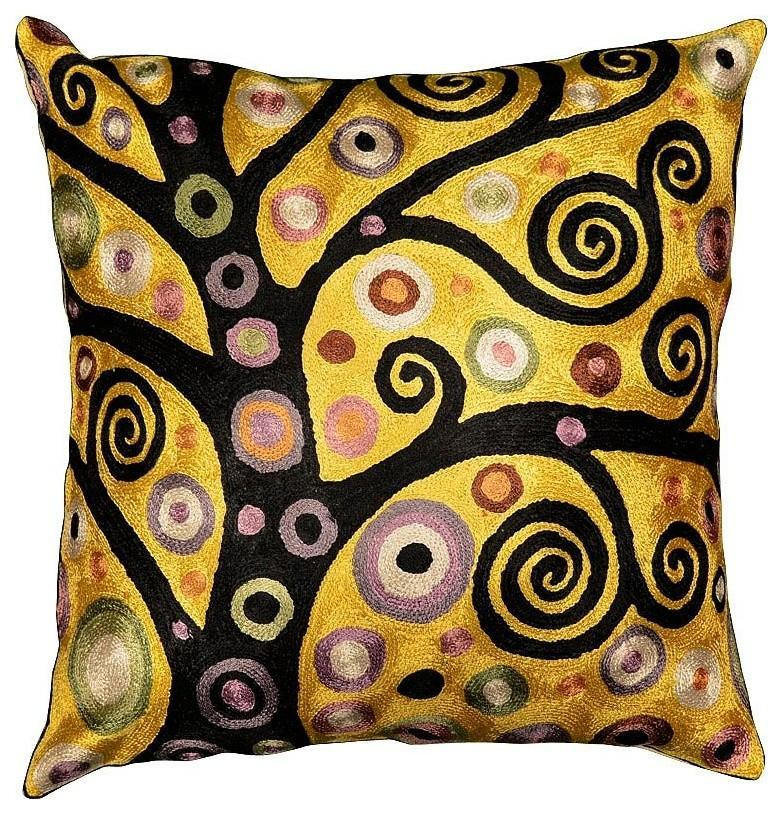 "Klimt Throw Pillow Soulful Tree of Life Silk Hand Embroidered 18"" x 18"" - KashmirDesigns"