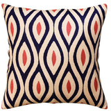 Contemporary Seamless Navy Light Coral Accent Pillow Cover Handmade Wool 18