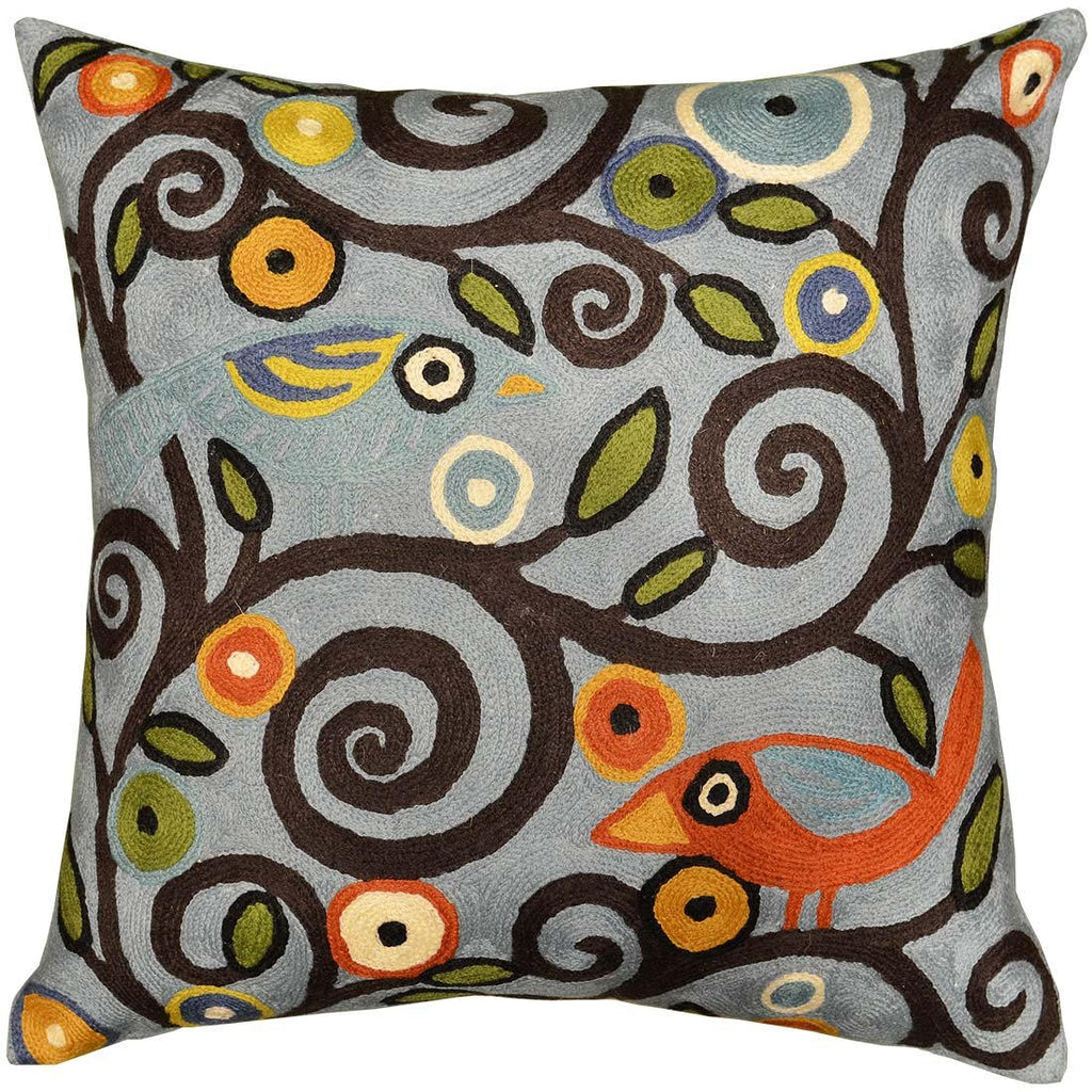 "Klimt Tree Of Life Birds Blue Throw Pillow Cover Hand Embroidered 18"" x 18"" - KashmirDesigns"