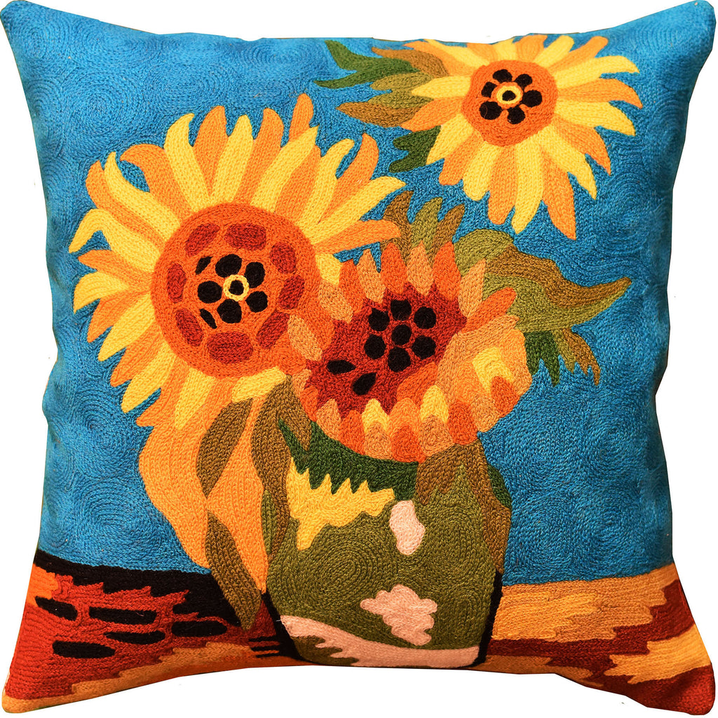 "Sunflowers I Van Gogh Teal Decorative Pillow Cover Handembroidered Wool 18x18"" - KashmirDesigns"