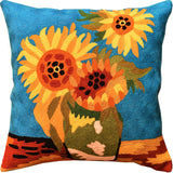 Sunflowers I Van Gogh Teal Decorative Pillow Cover Handembroidered Wool 18x18