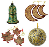 Holiday Christmas Ornaments, Hand Painted Ball, Bell, Moon and Maple Set