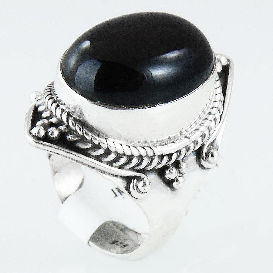 Size 7 Black Onyx Ring Sterling Silver Cabochon Oval Rings