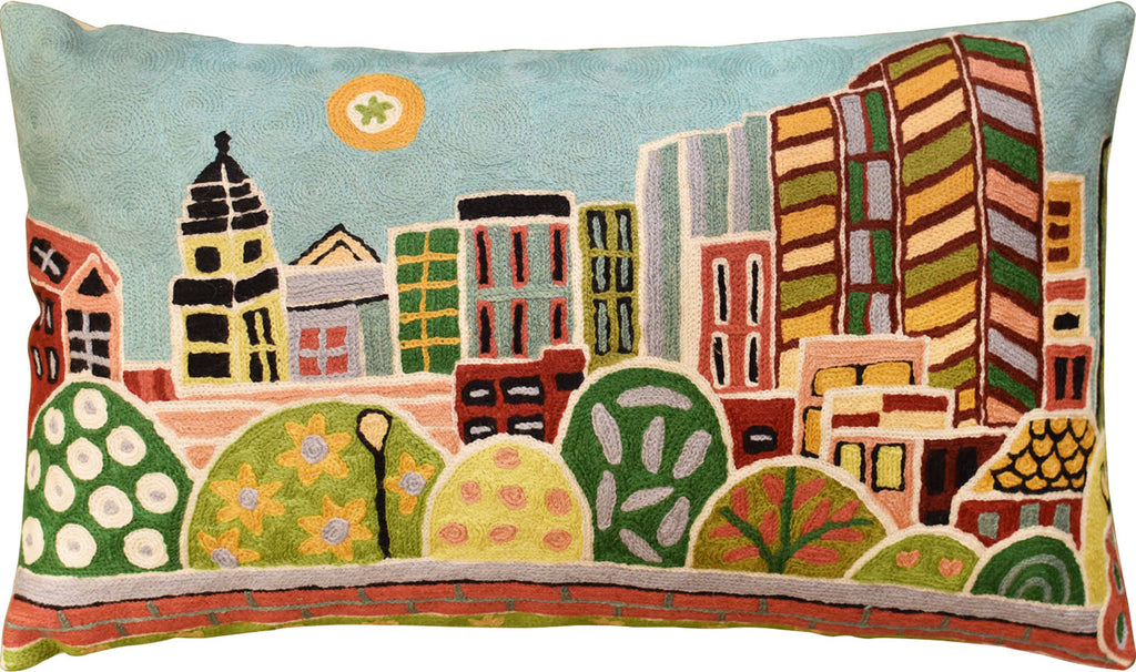 "Kennedy Greenway - Boston Karla Gerard Pillow Cover Handembroidered Wool 14""x24"" - KashmirDesigns"