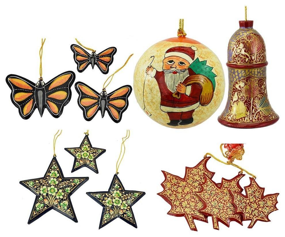 Christmas Ornaments Holiday Decorations Ball, Bell, Maple, Butterfly, Star Set - KashmirDesigns