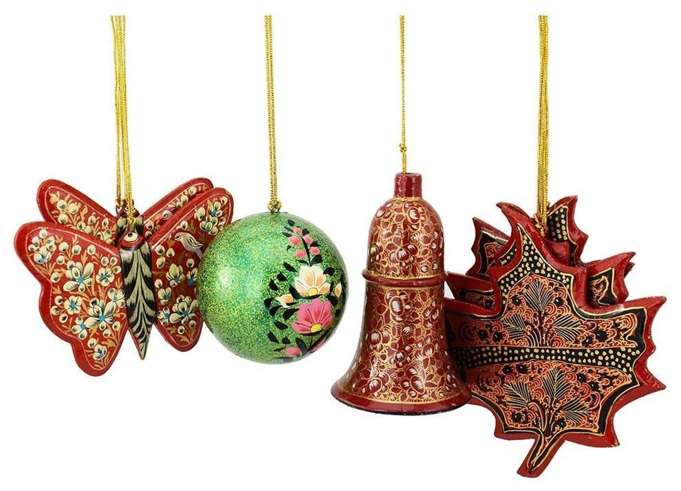 Holiday Christmas Ornaments, Hand Painted Ball, Bell, Butterfly and Maple Sets - KashmirDesigns