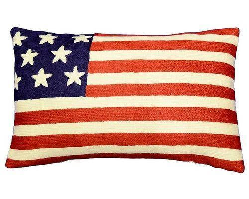 "Lumbar American Flag Pillow Cover Union Jack Hand Embroidered Wool 13x21"" - KashmirDesigns"