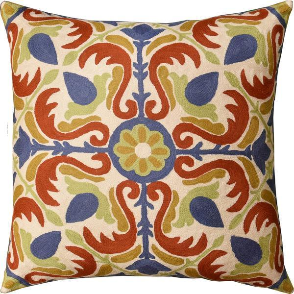 "Medallion Floral  Elements Decorative Pillow Cover Handembroidered Wool 20""x20"" - KashmirDesigns"
