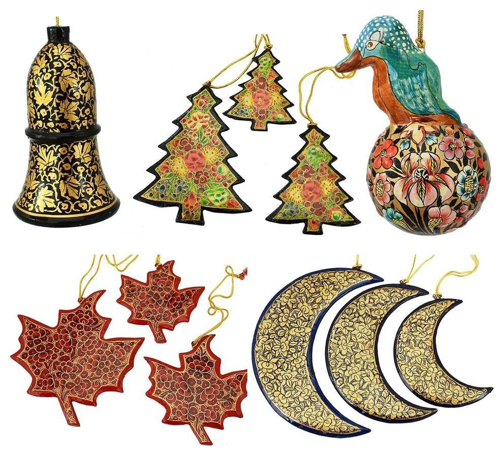 Christmas Ornaments Holiday Decorations, Robin Ball, Bell,Moon, Tree and Star Se - KashmirDesigns