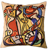 Wild Party I by Alfred Gockel Accent Pillow Cover-Handembroidered Wool 18