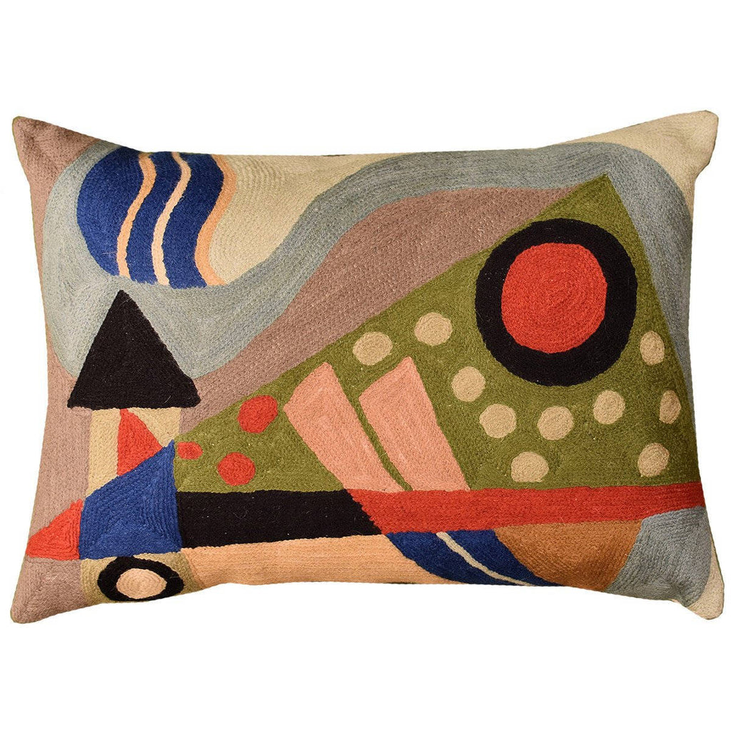 "Lumbar Kandinsky Composition VII Cushion Cover Hand Embroidered Wool 14x20"" - KashmirDesigns"