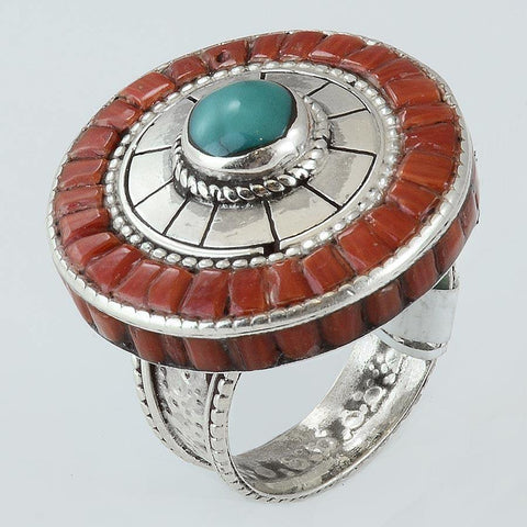 Size 10.5 Turquoise Coral Cocktail Ring Sterling Silver Round Rings