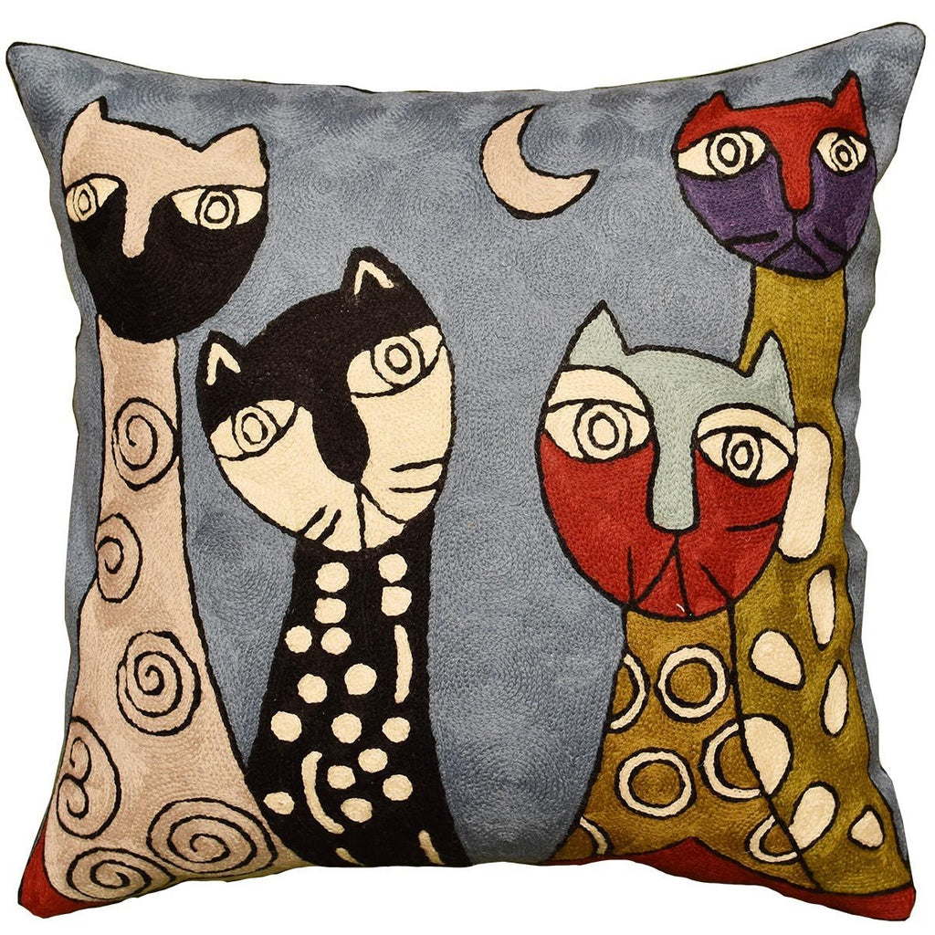 "Picasso Blue Cat Pillow Cover Quadruplets II Hand Embroidered Wool 18"" x 18"" - KashmirDesigns"