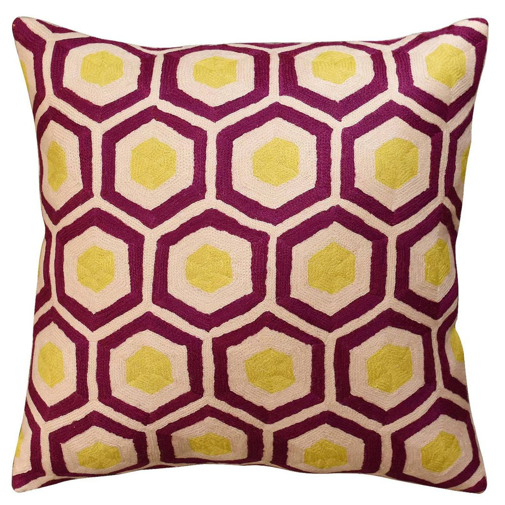 "Contemporary Honeycomb Amaranth Purple Yellow Accent Pillow Cover Wool 18""x18"" - KashmirDesigns"