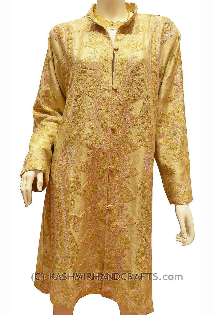 Beige Tan Silk Jacket Dinner Paisley Evening Dress Coat Hand Embroidered Kashmir - Kashmir Designs