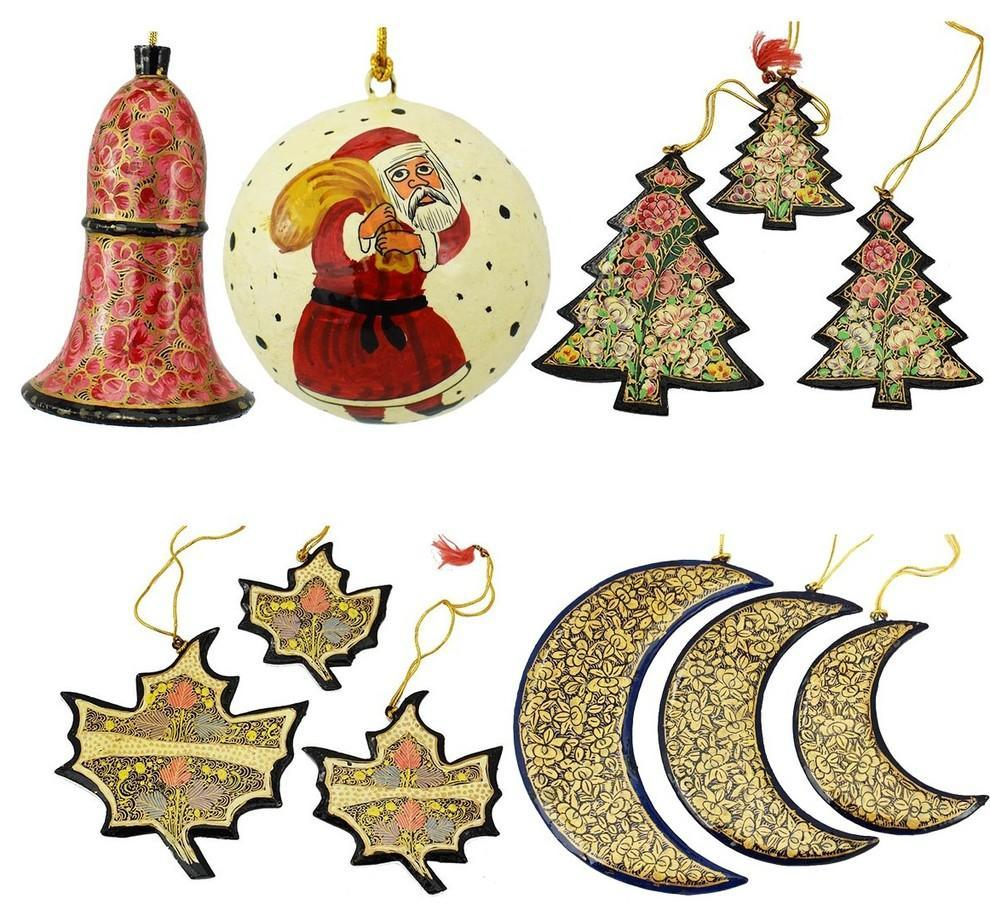 Christmas Ornaments Holiday Decorations, Ball, Bell,Moon, Tree and Maple Set - KashmirDesigns
