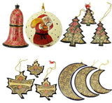 Christmas Ornaments Holiday Decorations, Ball, Bell,Moon, Tree and Maple Set