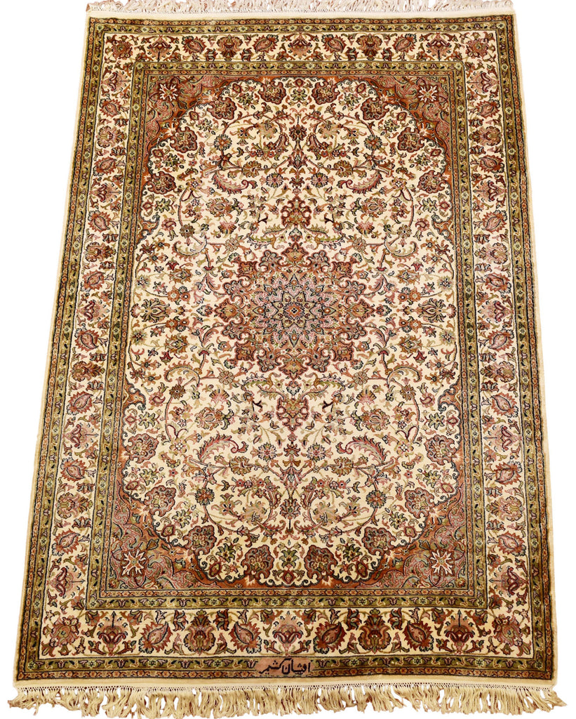 6'X4' Cream Kirman Rug Pure Silk Pile Oriental Area Rugs Carpet Hand Knotted