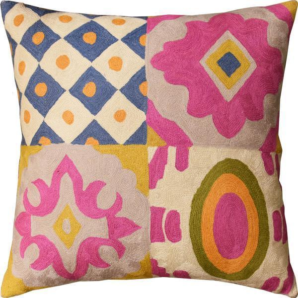 "Floral Four Square Elements Decorative Pillow Cover Handembroidered Wool 20""x20"" - KashmirDesigns"