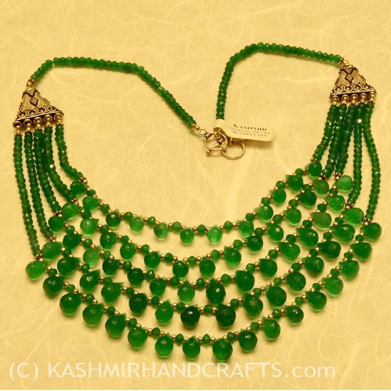 """Forest Tears"" Green Quartz Briolettes Necklace - Kashmir Designs"