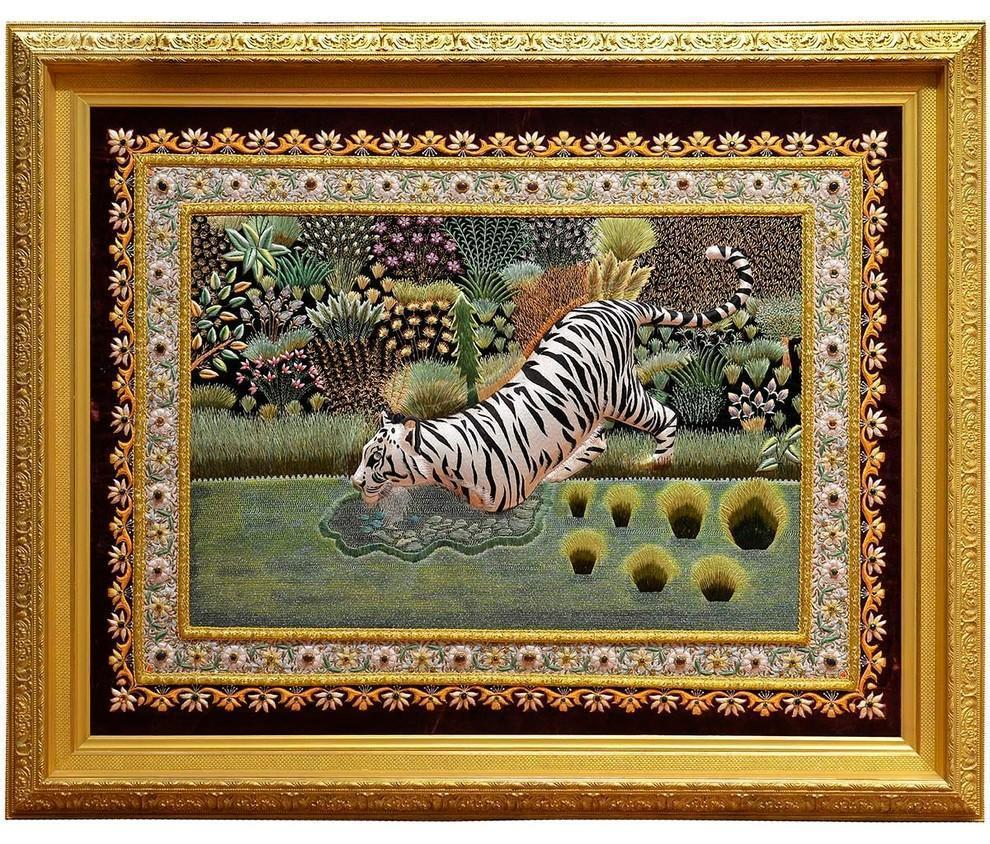 White Tiger Wall Art Decorative Wall Hanging Jewel Art Tapestry, 59x48 - KashmirDesigns