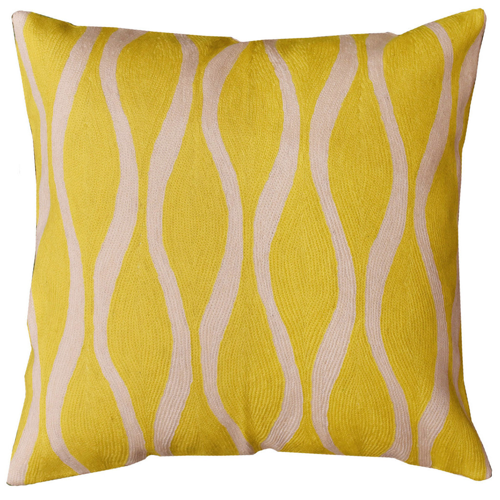"Contemporary Waves Yellow Decorative Pillow Cover Handmade Wool 18"" x 18"" - KashmirDesigns"