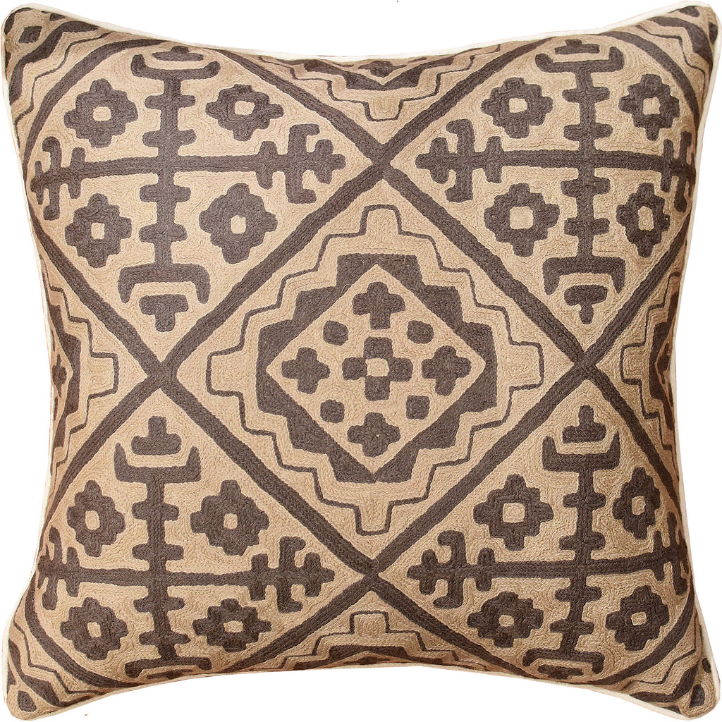 "Tribal Kilim Southwestern Beige Accent Pillow Cover Handembroidered Wool 20x20"" - KashmirDesigns"
