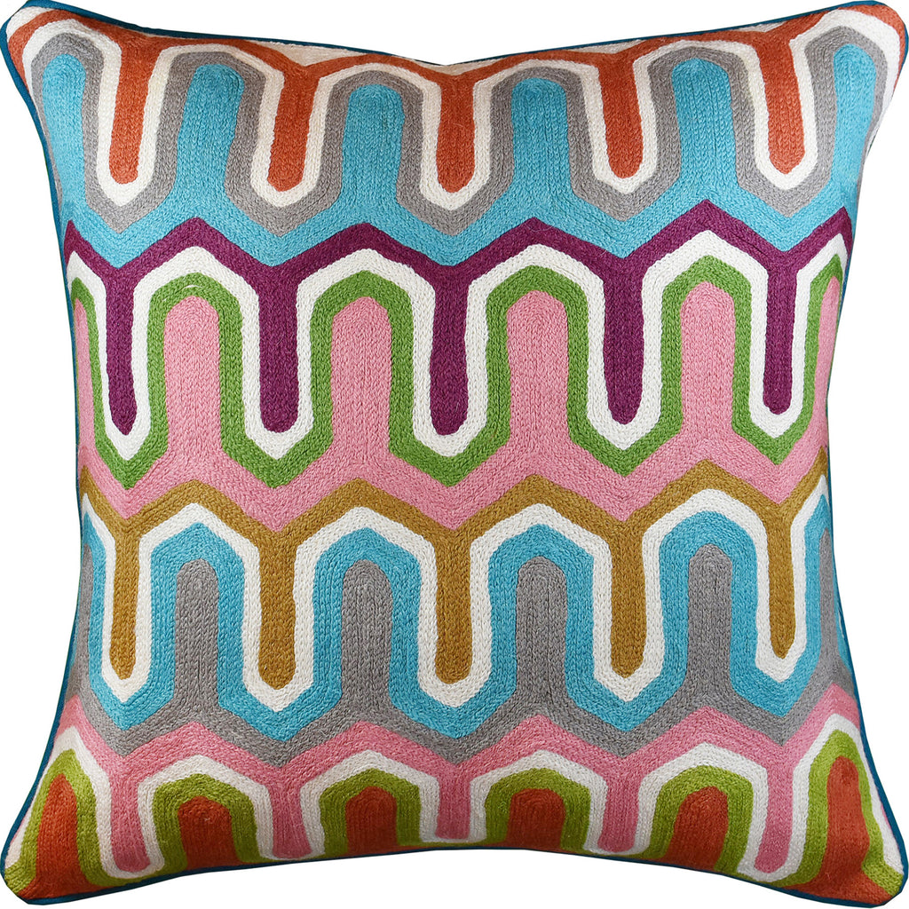 "Geometric Seamless Modern Decorative Pillow Cover Handembroidered Wool 20x20"" - KashmirDesigns"