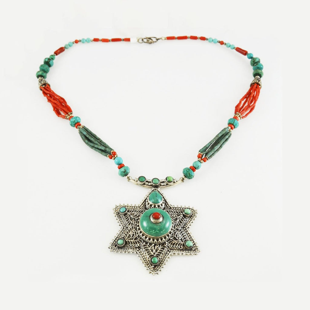 Turquoise Coral Star Necklace Star of Life  925 Sterling Silver Collar Choker - KashmirDesigns
