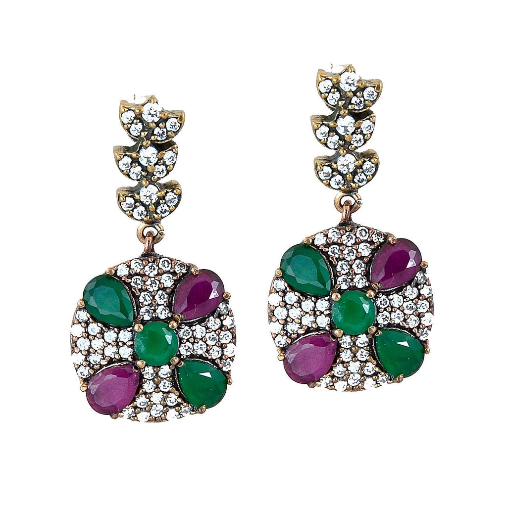 Green Red Emerald Ruby Earrings 925 Sterling Silver Chandelier Dome Dangle Earring - KashmirDesigns