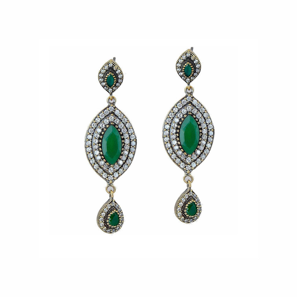 Green Emerald Earrings 925 Sterling Silver Dangle Art Marquise Drop Handcrafted - KashmirDesigns