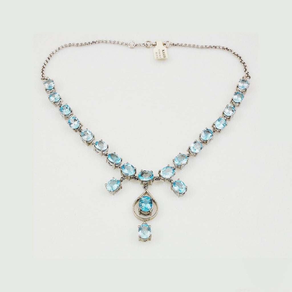 Blue Topaz Y Necklace 925 Sterling Silver Handcrafted Collar Choker Rhodium Finish - KashmirDesigns