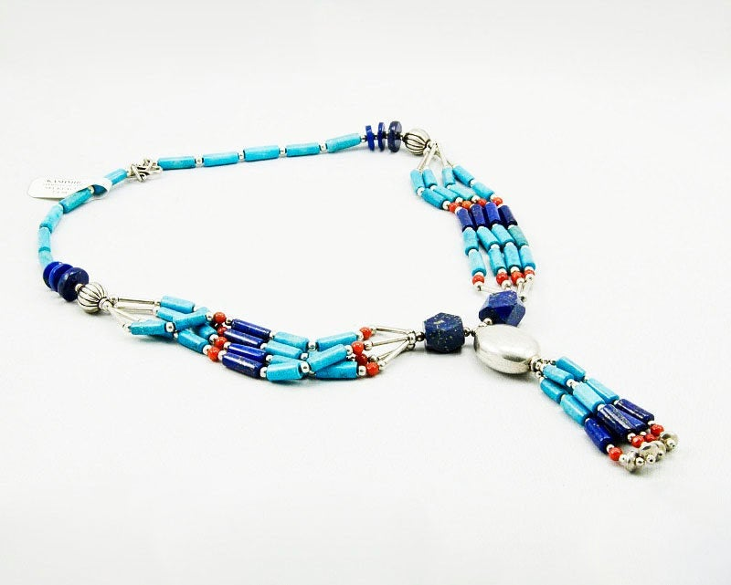 Turquoise Lapis Necklace Sterling Silver Collar Stone River Choker Blue - KashmirDesigns