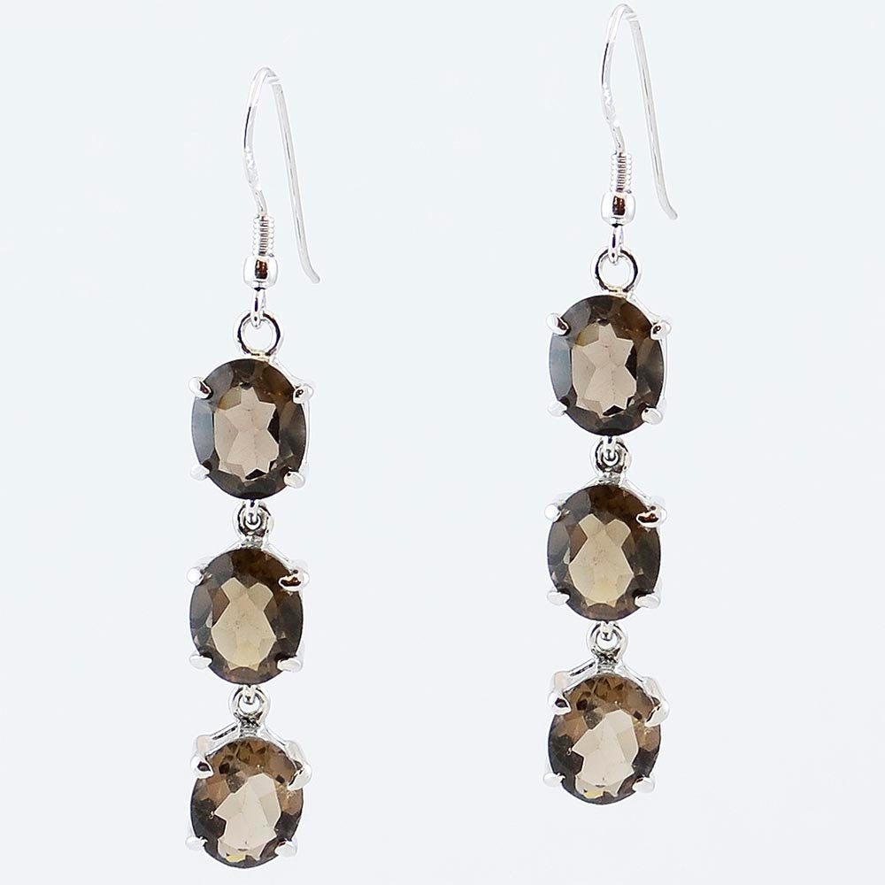 Smoky Quartz Dangle Drop Earrings Sterling Silver - KashmirDesigns