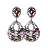 Garnet Multi Stone Silver Earrings Pear Shaped Dangle Design