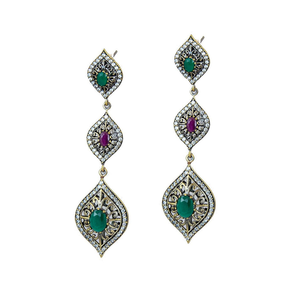 Green Emerald Ruby Drop Earrings II Ottoman 925 Sterling Silver Chandelier Marquise Dangle Earring - KashmirDesigns