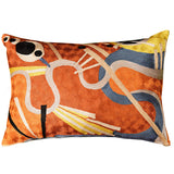 Lumbar Kandinsky Cushion Cover Rust Intuitive Flows Silk Hand Embroidered 14