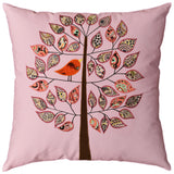 Lavender Tree of Life Bird Decorative Pillow Cover Cotton Applique Work 18