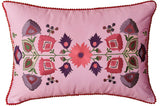 Lumbar Lavender Floral Cotton Decorative Pillow Cover Silk Embroidery  14