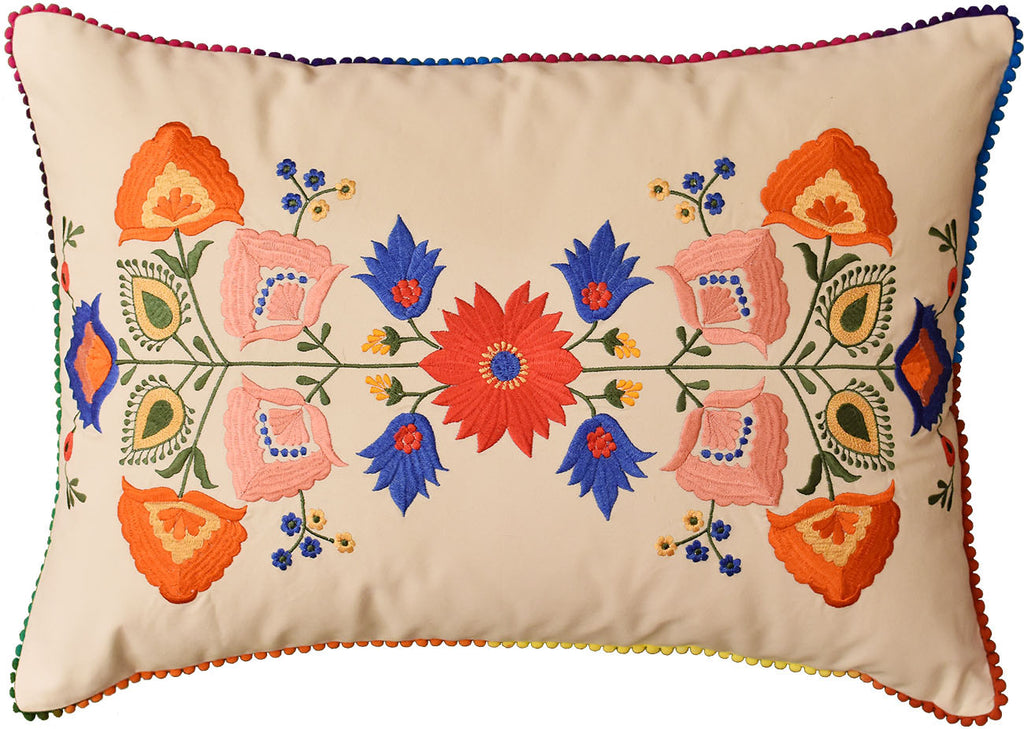 "Lumbar Beige Floral Cotton Decorative Pillow Cover Silk Embroidery  14""x20"" - KashmirDesigns"