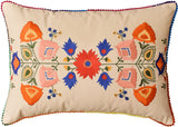 Lumbar Beige Floral Cotton Decorative Pillow Cover Silk Embroidery  14